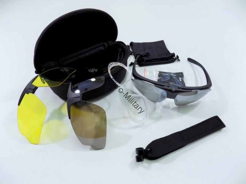 MFH® Tactical Military Safety Shooting Glasses HAWK Three Lens Kit + Accesories