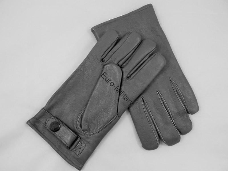 Military BW WW2 German Army Officer Classic Leather Grey Gloves