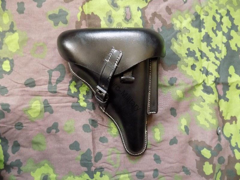 WW2 German Army Officer Hard Shell P-08 Holster - Leather