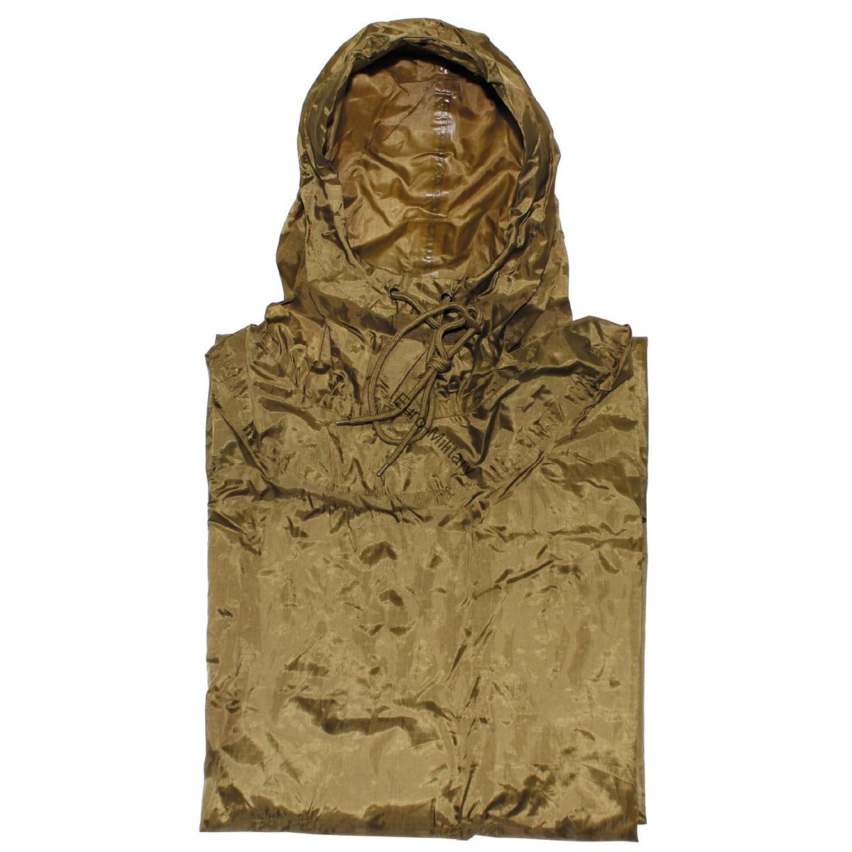 US Army Waterproof RipStop Hooded Rain Military Poncho - Coyote