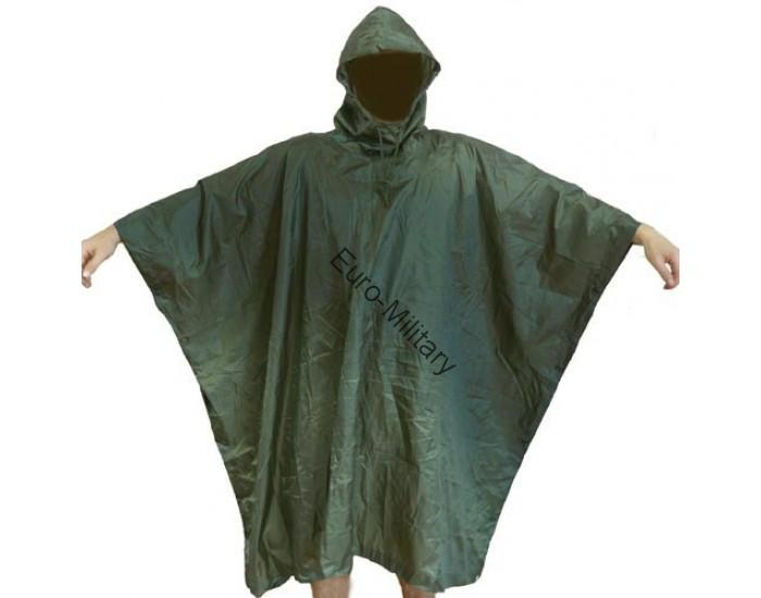 US Army Waterproof RipStop Hooded Rain Military Poncho - Olive