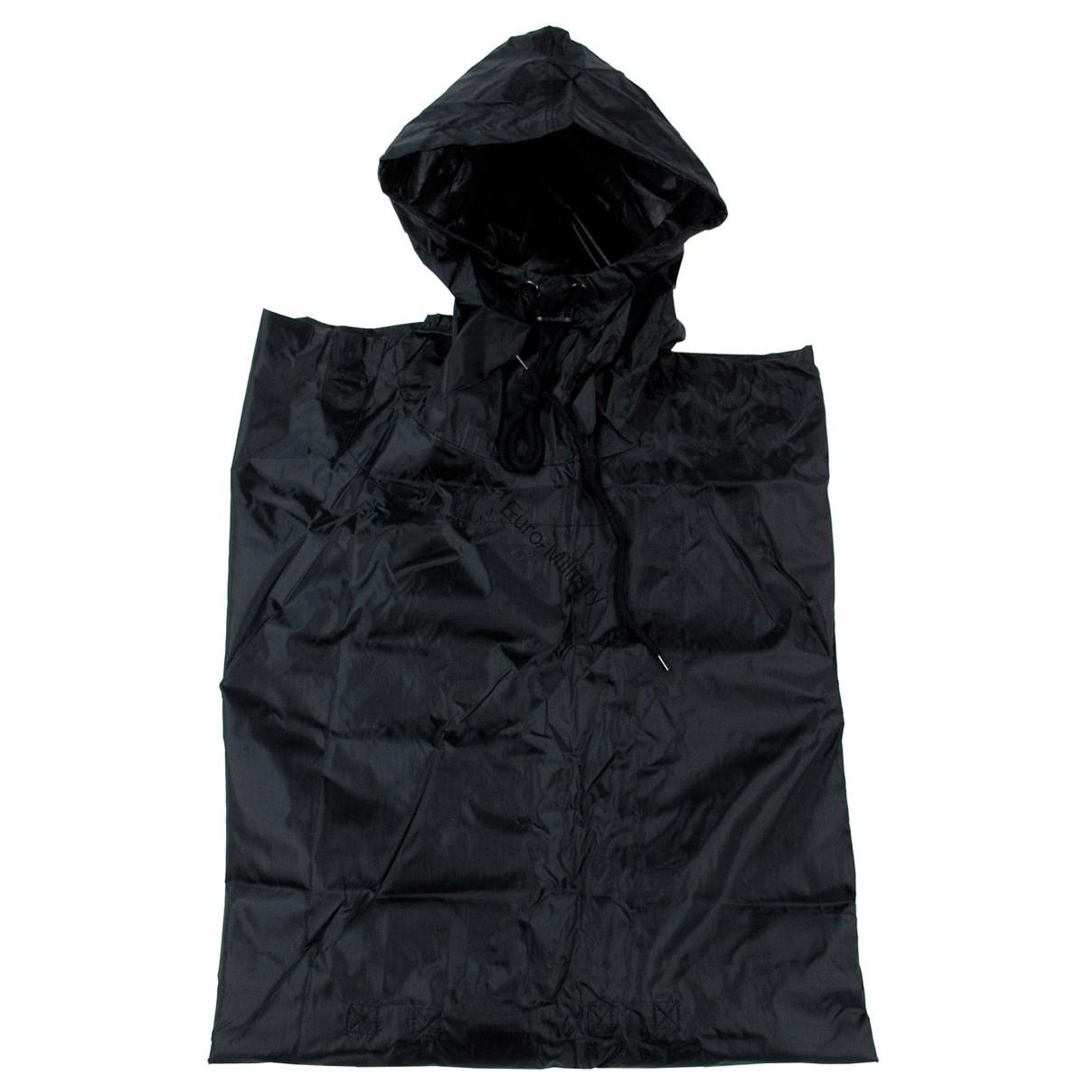 S Army Waterproof RipStop Hooded Rain Military Poncho - Black