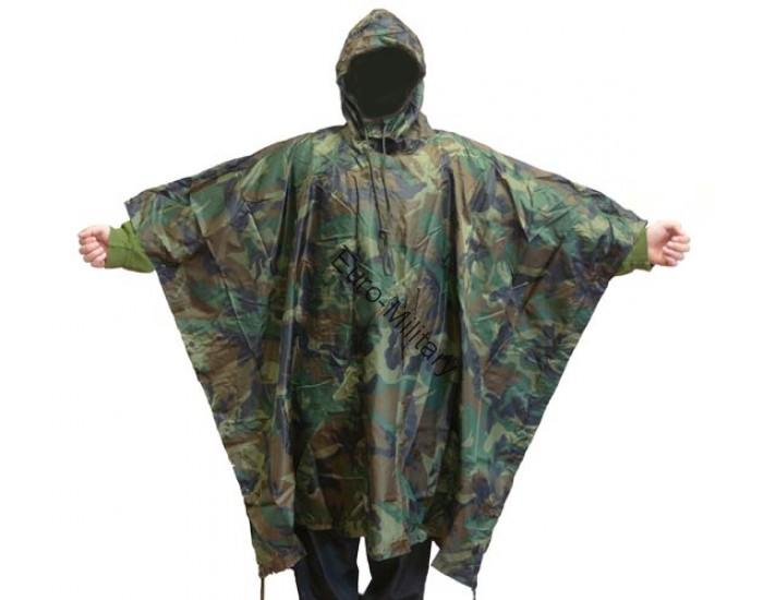 US Army Waterproof RipStop Hooded Rain Military Poncho - Woodland