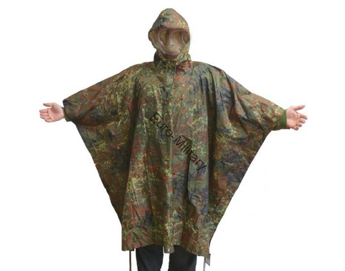 US Army Waterproof RipStop Hooded Rain Military Poncho - BW German Army Flectarn