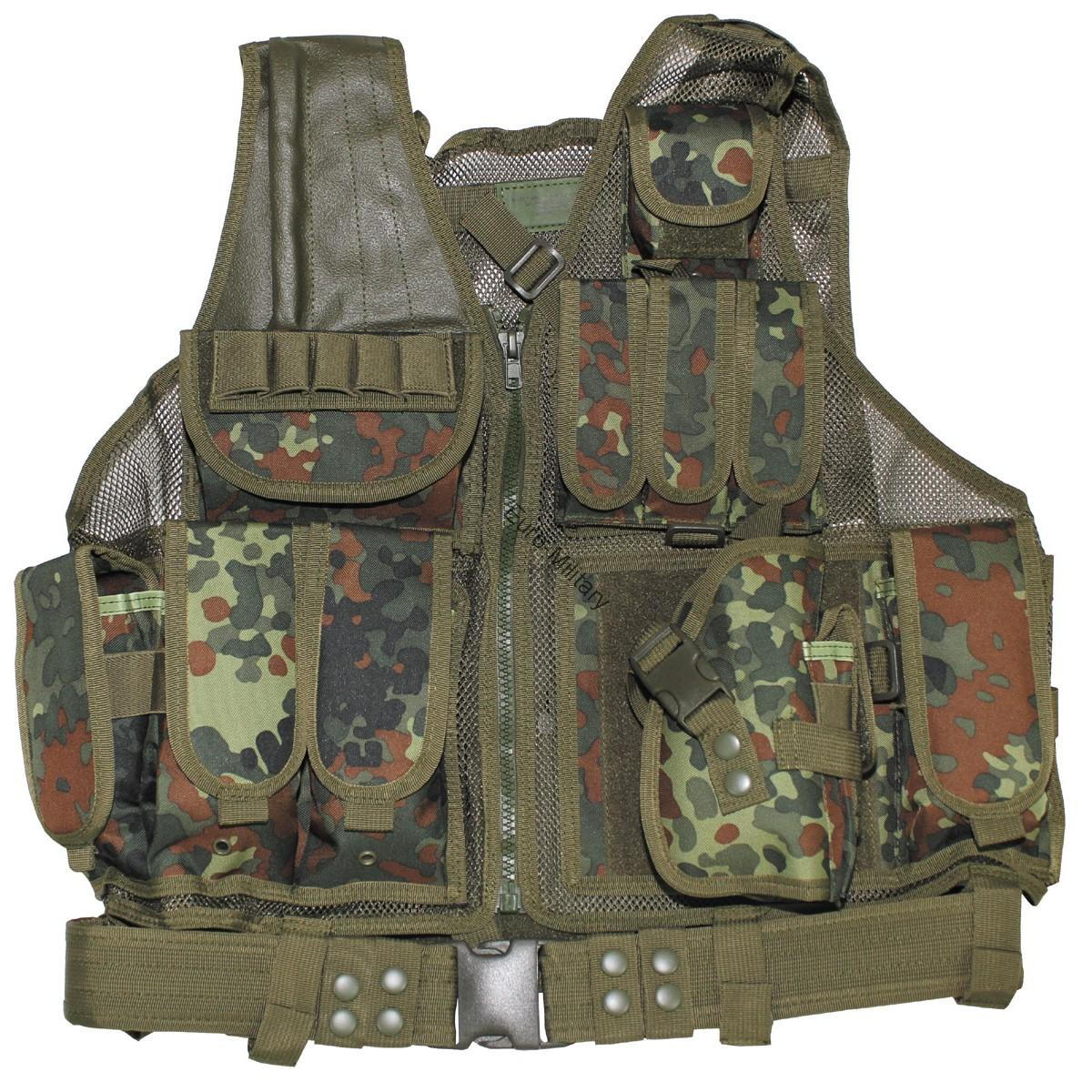 USMC Tactical Combat Assault Military Battle Vest with Belt - BW German Camo