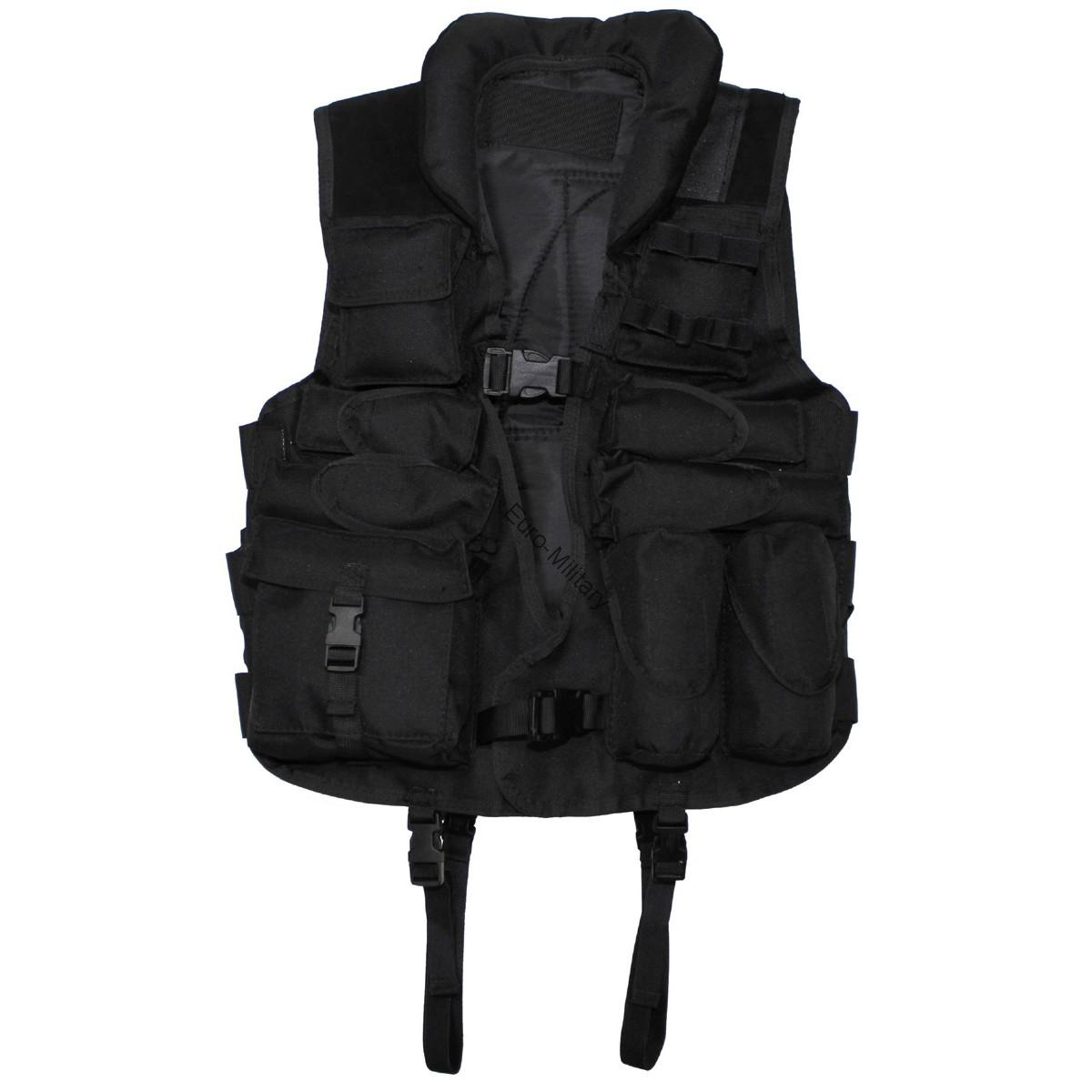 Tactical Army Vest with Leather - Black