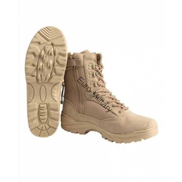 Military Tactical Side Zip Combat Mens Boots - Desert/Khaki