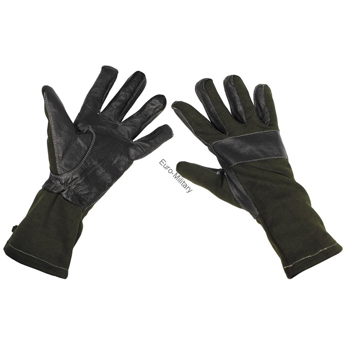 BW German Army Combat Gloves Long Gaiter Leather Trim - OD Green