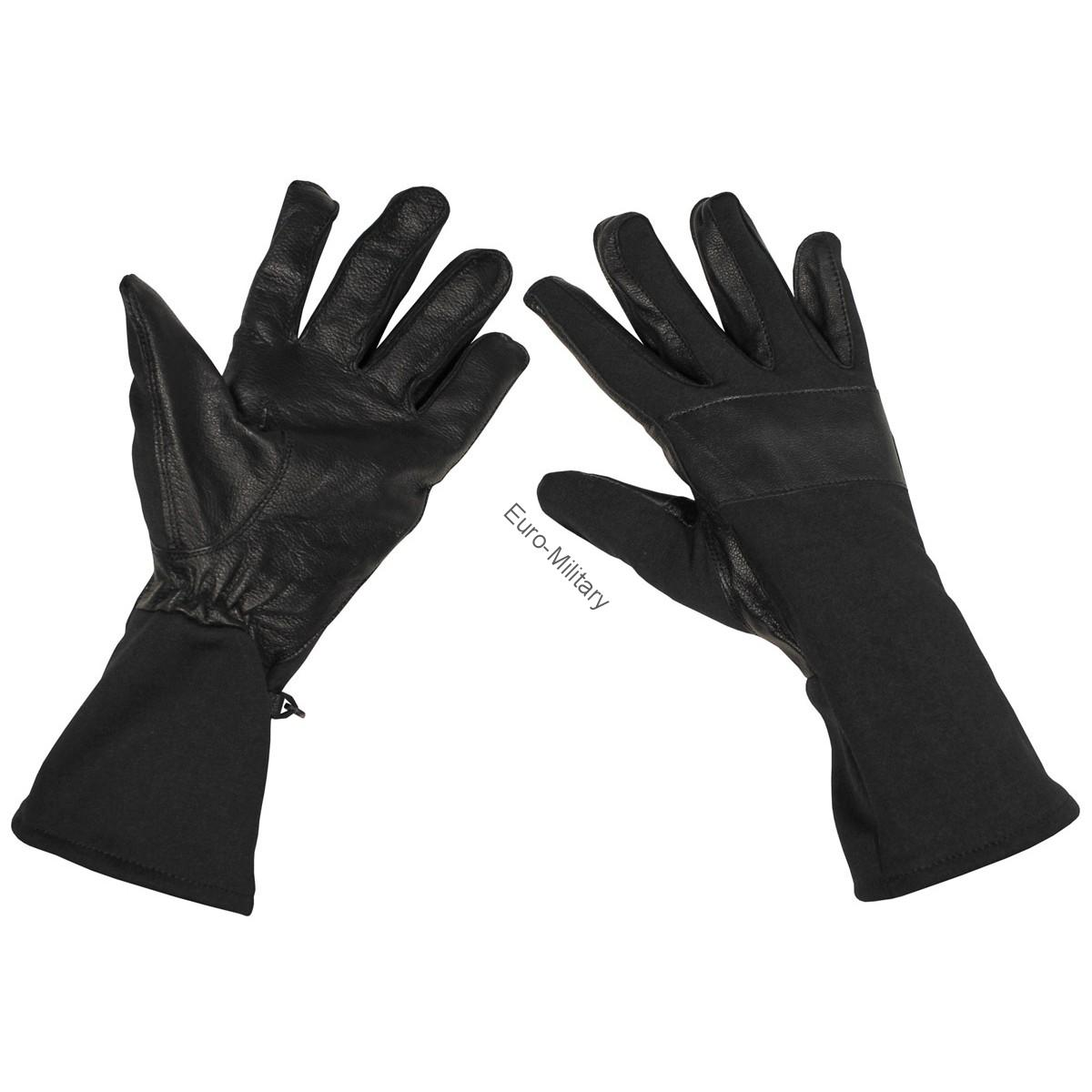 BW German Army Combat Gloves Long Gaiter Leather Trim - Black
