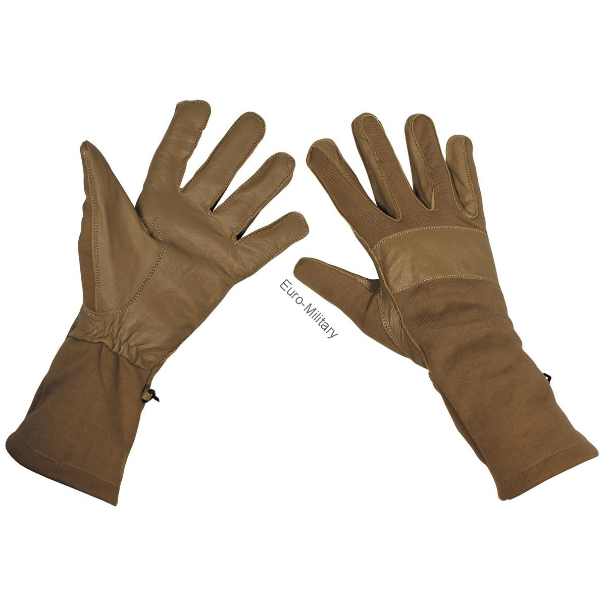 BW German Army Combat Gloves Long Gaiter Leather Trim - Coyote