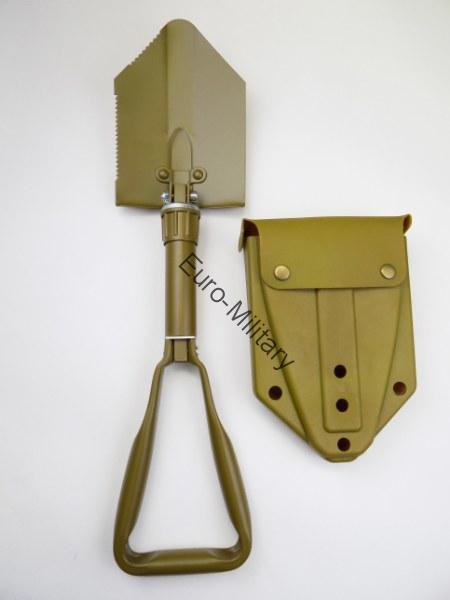 BW German Army Field Compact Folding Shovel w/ Plastic Case - Coyote