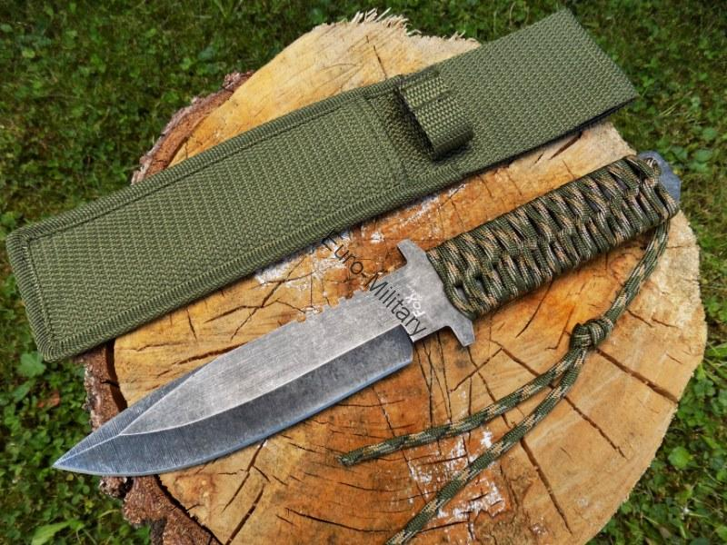 Fox Outdoor® Hunting Military Outdoor Survival StoneWash Knife w/ Paracord Wrap