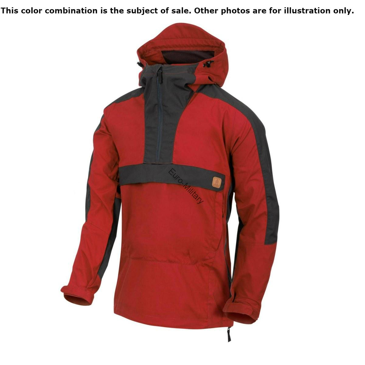 HELIKON TEX® WOODSMAN Outdoor Camping Canvas BUSHCRAFT ANORAK - Crimson/Ash Grey
