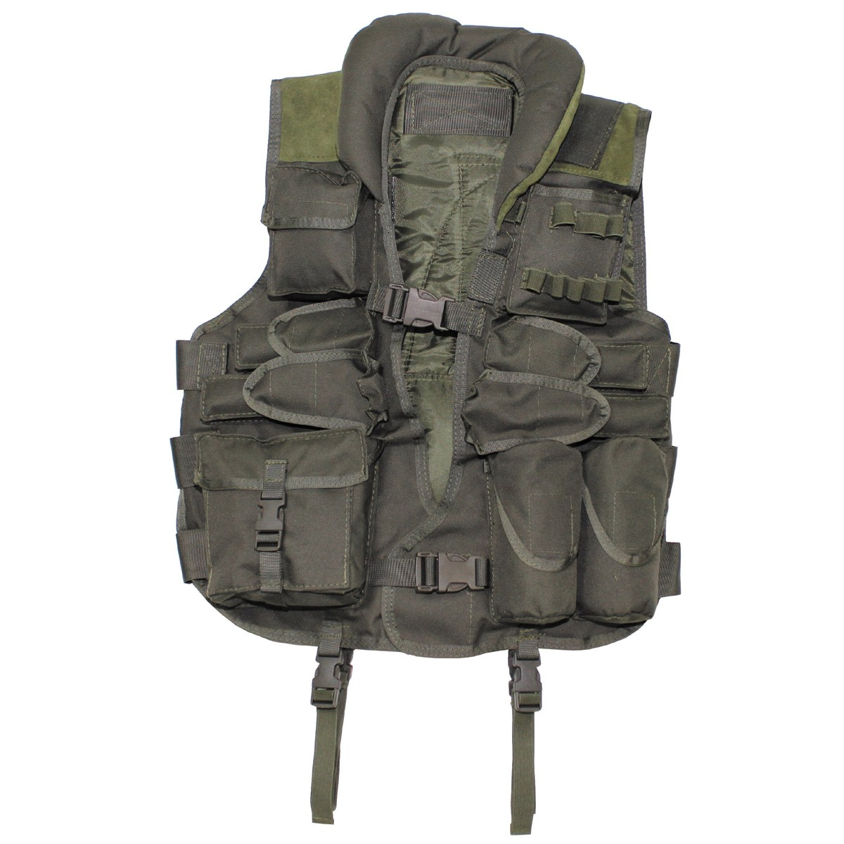 Tactical Army Vest with Leather - OD Green