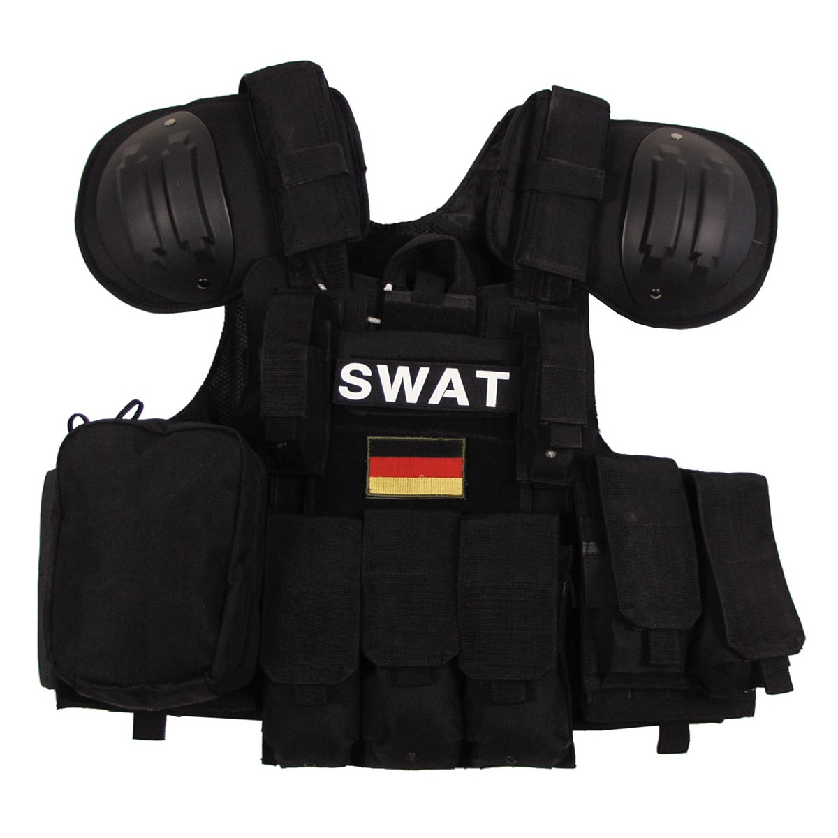 SWAT Tactical Combat MODULAR Vest w/ Bags&Pouches Quick Remove - Police Black