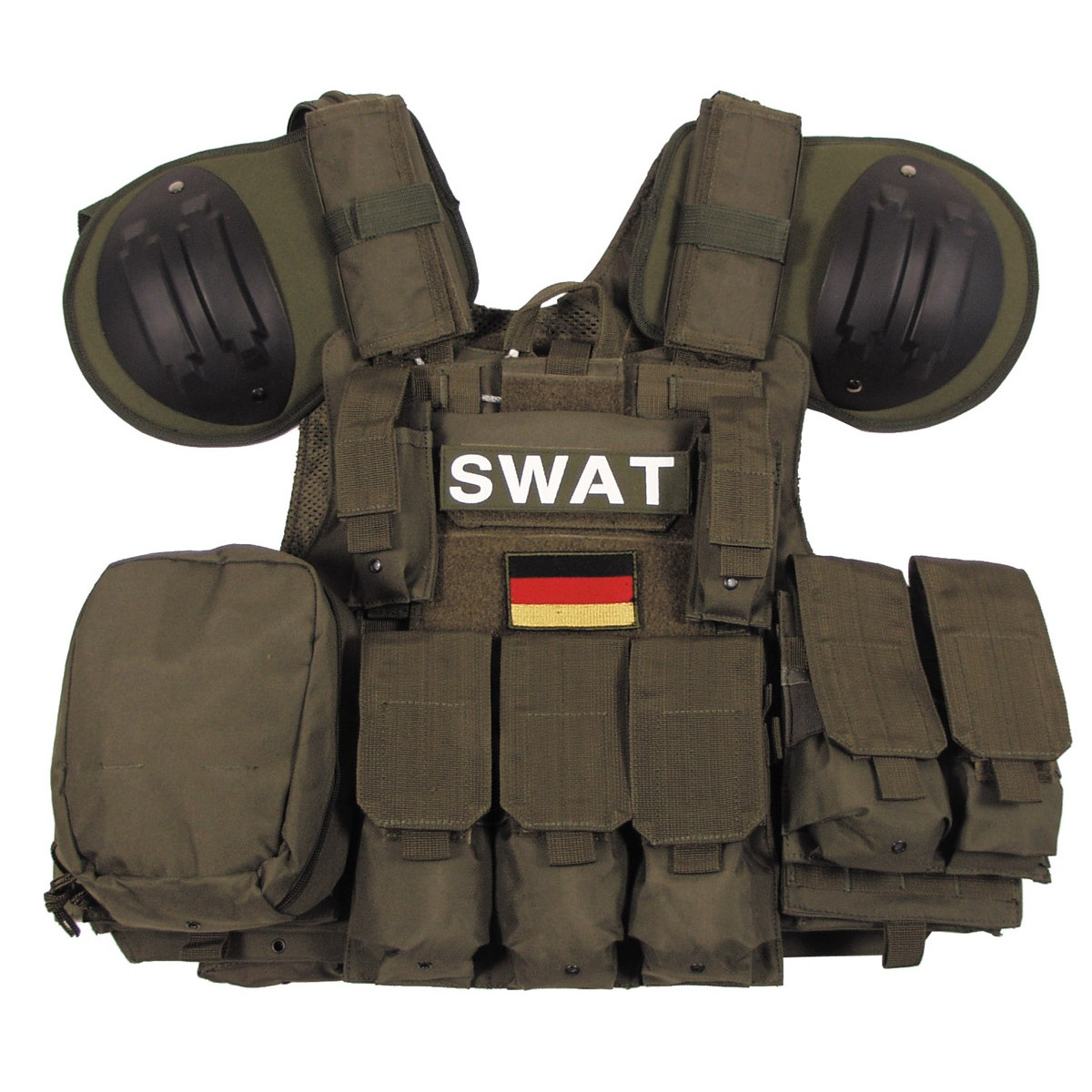 SWAT Tactical Combat MODULAR Vest w/ Bags&Pouches Quick Remove - OD Green
