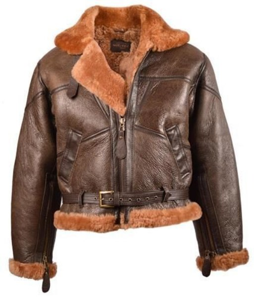 WW2 British Army Pilot RAF Royal Air Force Flight Jacket Leather Sheepskin - TOP