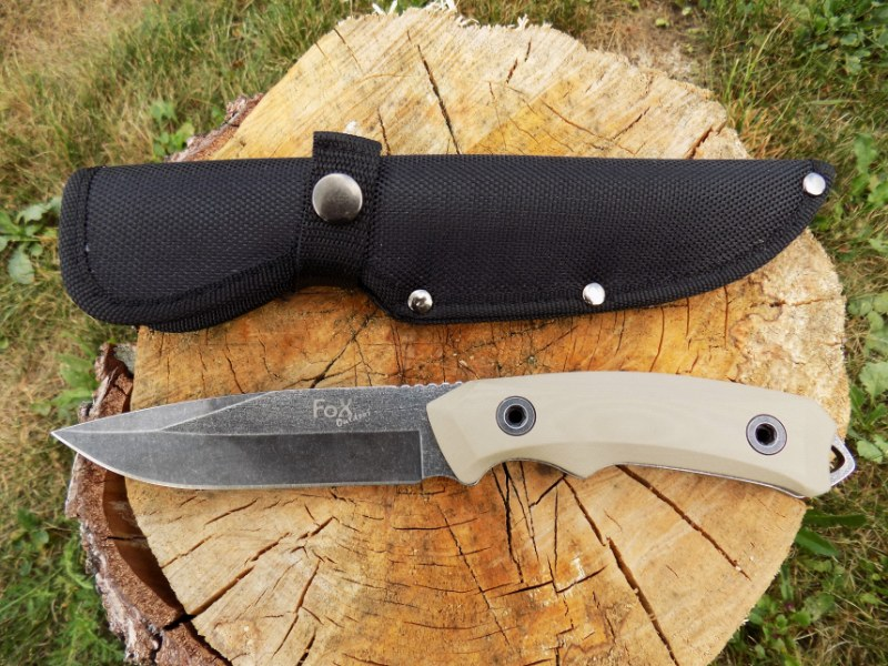 "Stonewashed Hunting Outdoor Knife ""Coyote II"" w/ G10 Handle"