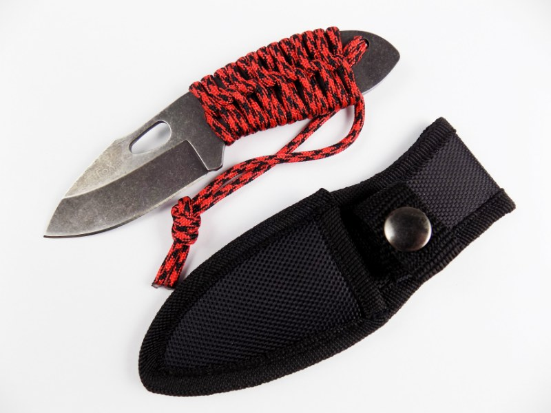 Fox Outdoor® Compact Stonewashed Hardened Outdoor Military Knife w/ Paracord