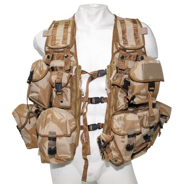 Original Modern British Army GB Desert DPM Camo Tactical Fully Pouches Vest
