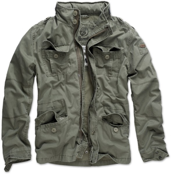 Brandit® Britannia Field Military Stylish Army Mens Jacket Cotton Coat - Olive