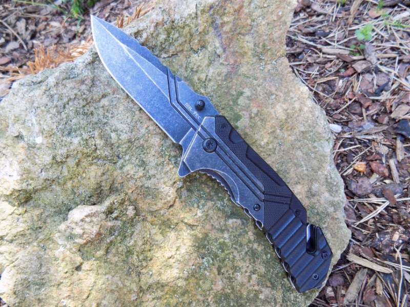 Tactical Outdoor Car Rescue Pocket Knife G10 Stone Washed w/ Clip - 3CR13 Steel